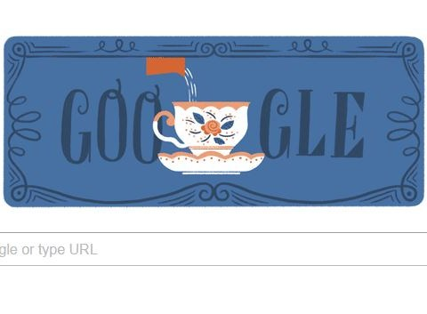 Today is the birthday of tea ads in Britain and Google is celebrating with a doodle