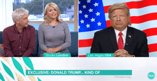 Holly was on the receiving end of flirtatious behaviour from a Donald Trump impersonator (Picture: ITV)