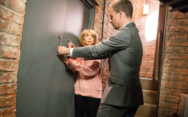 FROM ITV STRICT EMBARGO - NO USE BEFORE TUESDAY 11 OCTOBER 2016 Coronation Street - Ep 9014 & Ep 9015 Monday 17 October 2016 - 1st & 2nd Ep Gail Rodwell HELEN WORTH and Nick Tilsley BEN PRICE know they need to act fast and hatch a risky plan to save David Platt JACK P SHEPHERD from himself… but can they outsmart him when they need to the most? Having been locked in the Bistro cellar, David batters on the door in a fit of rage. Gail and Nick reveal that they know his plans to kill Clayton which leaves David shocked. Picture contact: david.crook@itv.com on 0161 952 6214 Photographer - Mark Bruce This photograph is (C) ITV Plc and can only be reproduced for editorial purposes directly in connection with the programme or event mentioned above, or ITV plc. Once made available by ITV plc Picture Desk, this photograph can be reproduced once only up until the transmission TX date and no reproduction fee will be charged. Any subsequent usage may incur a fee. This photograph must not be manipulated excluding basic cropping in a manner which alters the visual appearance of the person photographed deemed detrimental or inappropriate by ITV plc Picture Desk. This photograph must not be syndicated to any other company, publication or website, or permanently archived, without the express written permission of ITV Plc Picture Desk. Full Terms and conditions are available on the website www.itvpictures.com