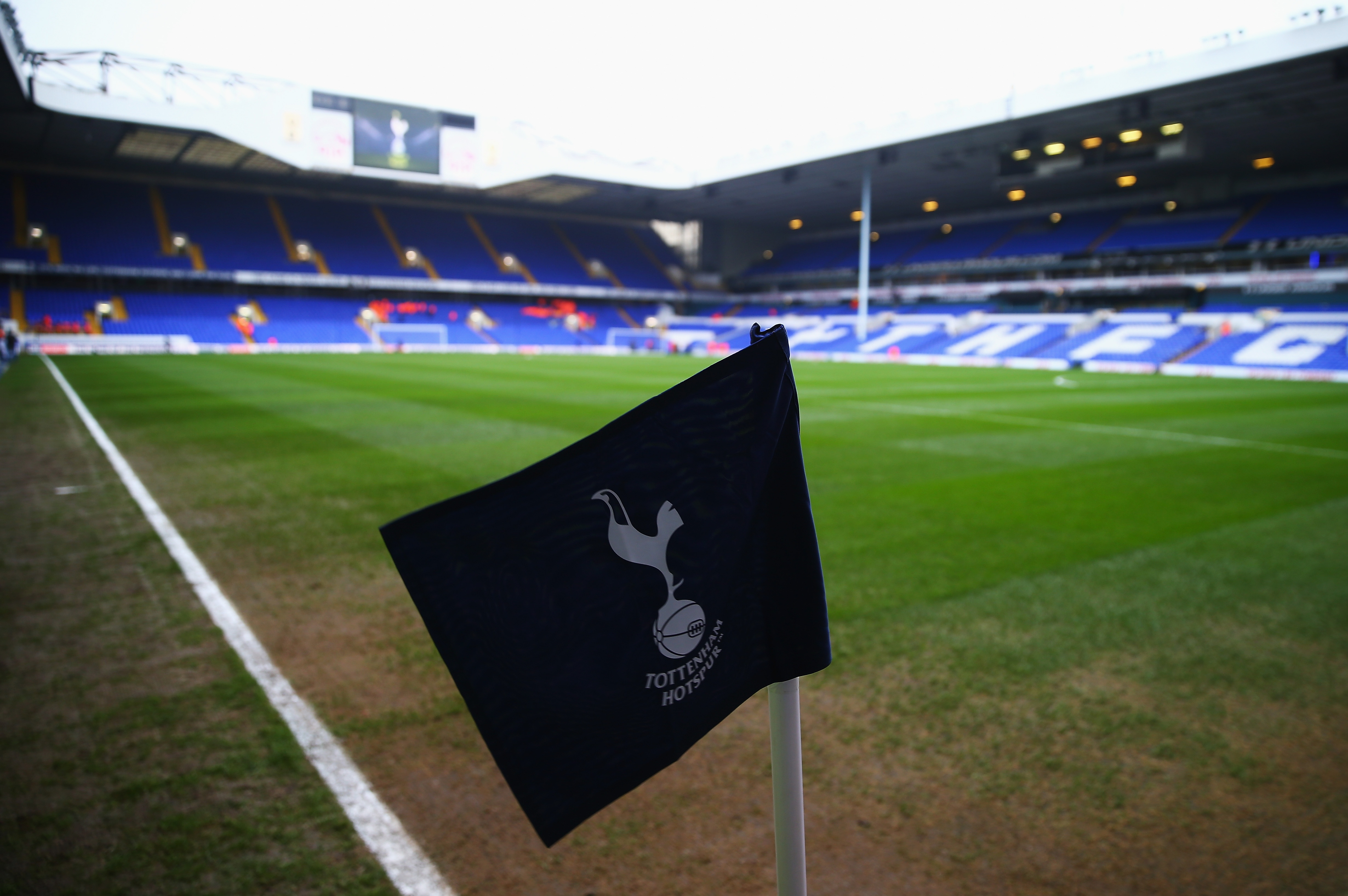 LONDON, ENGLAND - DECEMBER 13: A general view of the stadium and corner flag prior to the Barclays Premier League match between Tottenham Hotspur and Newcastle United at White Hart Lane on December 13, 2015 in London, England. (Photo by Clive Rose/Getty Images)