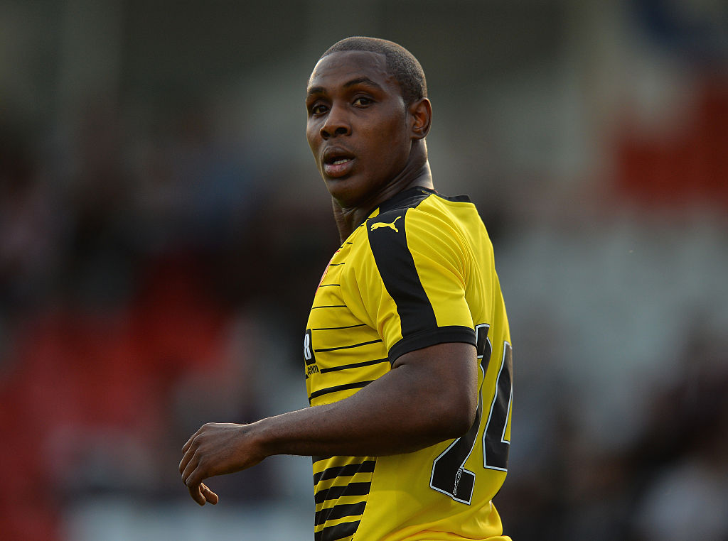 STEVENAGE, ENGLAND - JULY 14: Odion Jude Ighalo of Watford during the Pre-Season Friendly match between Stevenage and Watford at The Lamex Stadium on July 14, 2016 in Stevenage, England. (Photo by Tony Marshall/Getty Images)