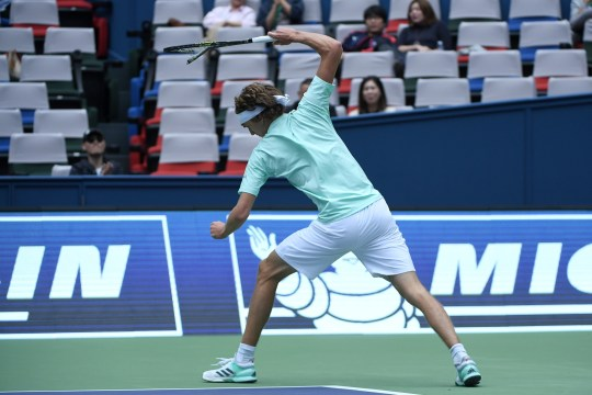Alexander Zverev of Germany reacts after losing a point against Jo-Wilfried Tsonga of France during their men's singles match at the Shanghai Masters tennis tournament in Shanghai on October 13, 2016. / AFP / WANG ZHAO (Photo credit should read WANG ZHAO/AFP/Getty Images)