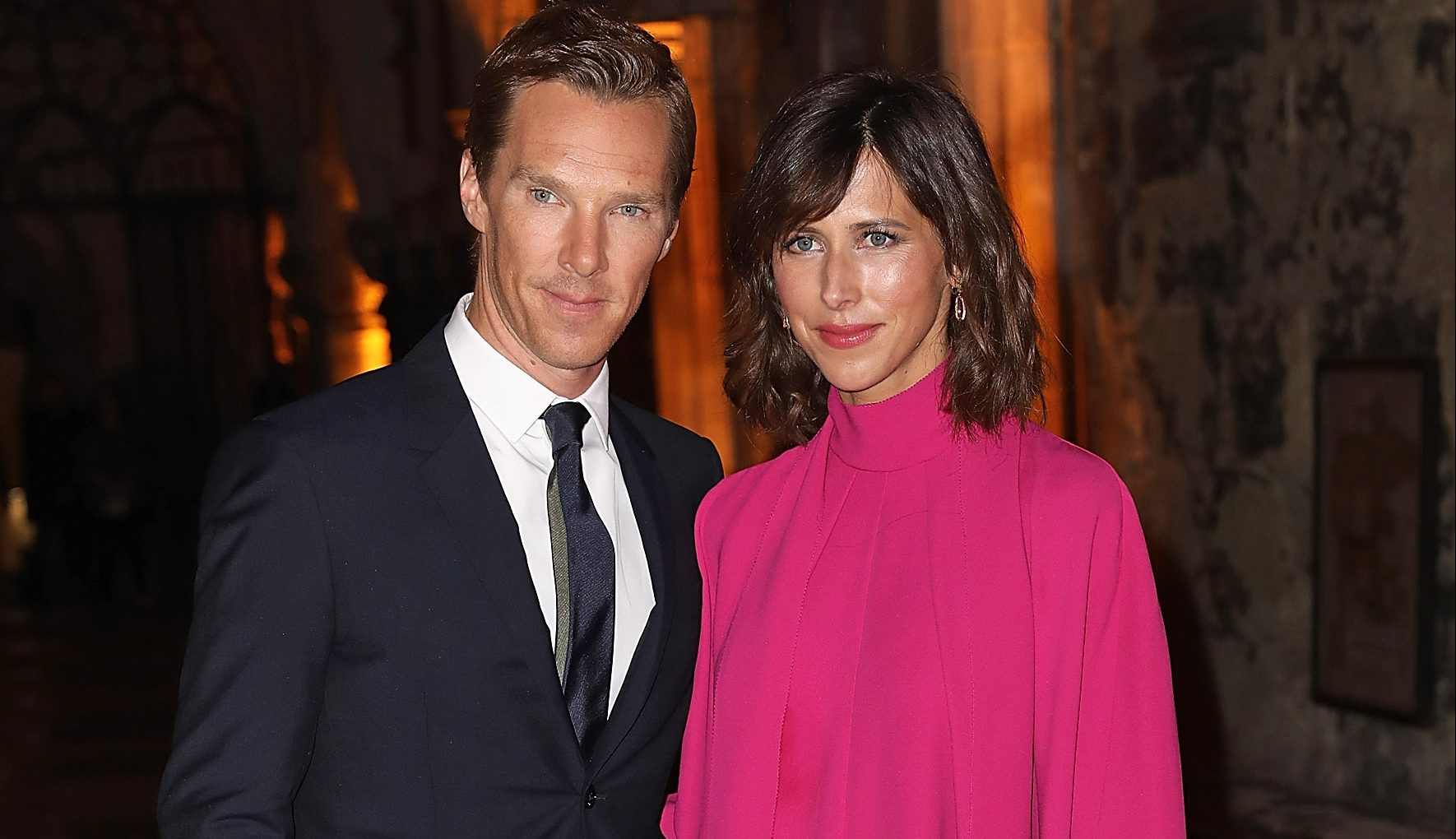 """LONDON, ENGLAND - OCTOBER 24: Benedict Cumberbatch and Sophie Hunter attend the red carpet launch event for """"Doctor Strange"""" at Westminster Abbey on October 24, 2016 in London, United Kingdom. (Photo by David M. Benett/Dave Benett/WireImage)"""