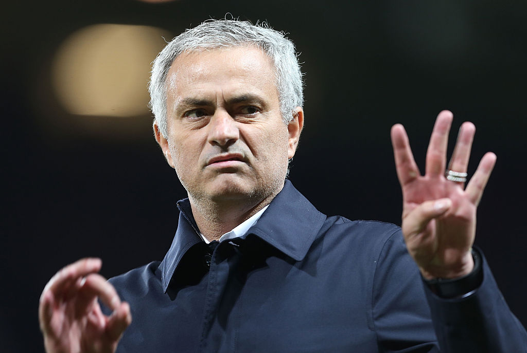 MANCHESTER, ENGLAND - OCTOBER 26:  Manager Jose Mourinho of Manchester United walks off after the EFL Cup Fourth Round match between Manchester United and Manchester City at Old Trafford on October 26, 2016 in Manchester, England.  (Photo by Matthew Peters/Man Utd via Getty Images)