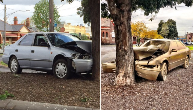 Abandoned car painted chrome gold in Melbourne, Australia as