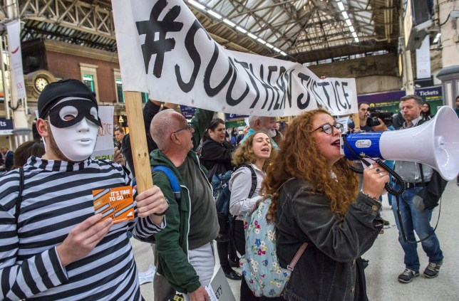 Mandatory Credit: Photo by Guy Bell/REX/Shutterstock (6050939p) Protesters Southern Rail protest at Victoria Station, London, UK - 29 Sep 2016 Passengers groups, led by the Association of Briish Commuters (ABC), stage a protest aginst the poor service and high fairs charged by Southern Rail.