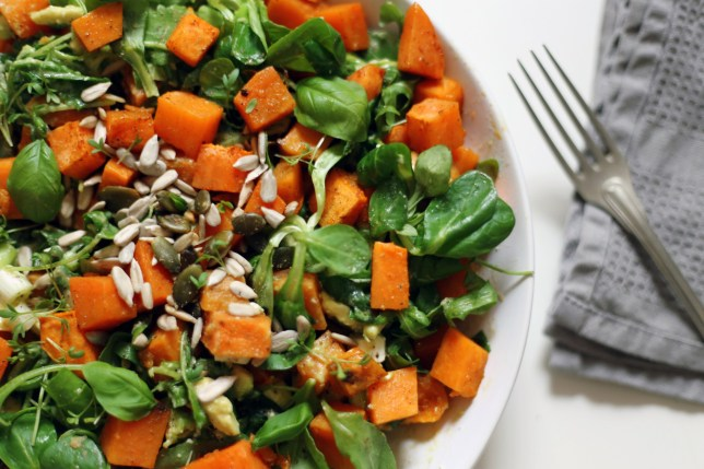 Warm sweet potato salad with tahini dressing