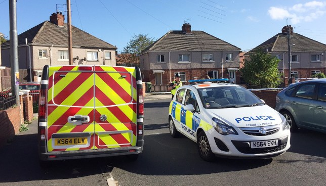 Police at the scene in Hewitt Avenue in Sunderland, after a 15-year-old boy is critically ill after being shot while riding a motorbike. PRESS ASSOCIATION Photo. Picture date: Thursday October 6, 2016. A 39-year-old man and a 16-year-old boy were arrested on suspicion of causing grievous bodily harm following the incident. See PA story POLICE Sunderland. Photo credit should read: Tom Wilkinson/PA Wire