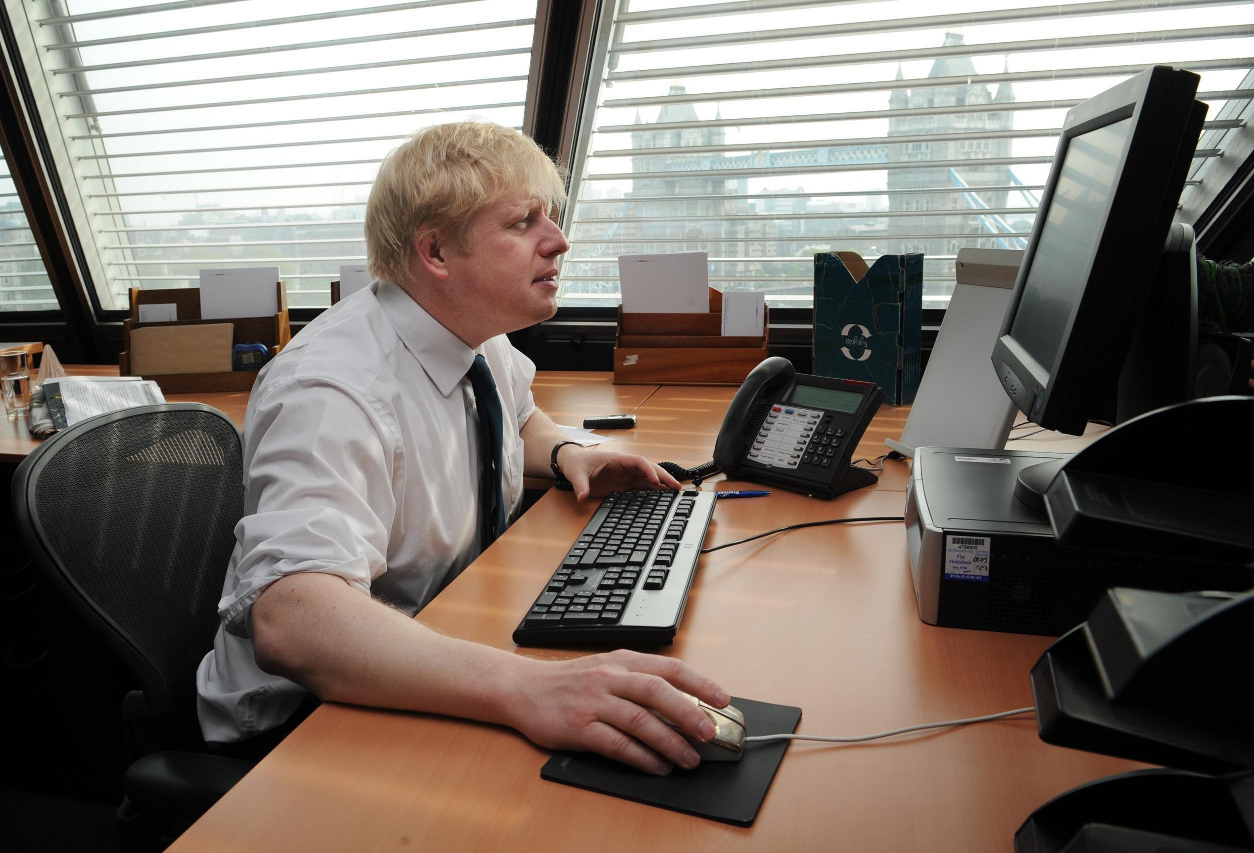 credit: PA. London Mayor Boris Johnson in his office at City Hall in London.