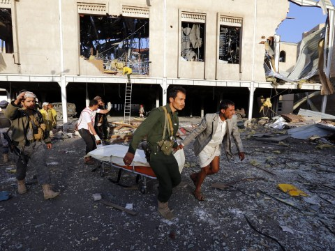 At least 82 grieving mourners killed when air strike hits Yemeni funeral hall