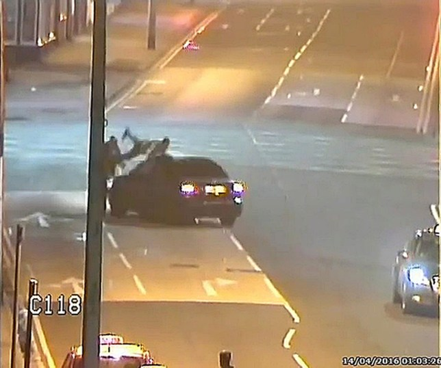 """BEST QUALITY AVAILABLE Handout CCTV still taken from footage issued by Humberside Police of the moment Mohammad Abdullah deliberately mowed down two pedestrians in a """"shocking"""" road rage attack. Abdullah has been jailed for six years for the incident. PRESS ASSOCIATION Photo. Issue date: Friday October 14, 2016. He left his victims with numerous fractures after the """"dreadful episode"""" in April this year. See PA story COURTS Rage. Photo credit should read: Humberside Police/PA Wire NOTE TO EDITORS: This handout photo may only be used in for editorial reporting purposes for the contemporaneous illustration of events, things or the people in the image or facts mentioned in the caption. Reuse of the picture may require further permission from the copyright holder."""