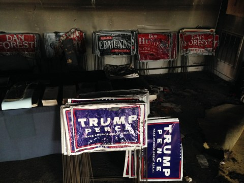 Donald Trump blames Hillary Clinton animals after Republican office is firebombed