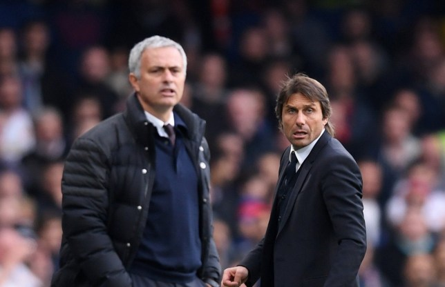 LONDON, ENGLAND - OCTOBER 23:  Antonio Conte, Manager of Chelsea and Jose Mourinho, Manager of Manchester United look on during the Premier League match between Chelsea and Manchester United at Stamford Bridge on October 23, 2016 in London, England.  (Photo by Darren Walsh/Chelsea FC via Getty Images)