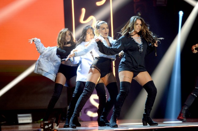 Jade Thirlwall, Leigh-Anne Pinnock, Perrie Edwards and Jesy Nelson of Little Mix on stage at the BBC Radio 1 Teen Awards, held at the SSE Wembley Arena, London. Picture date: Sunday, 23 October, 2016. Photo credit should: Doug PetersEMPICS Entertainment
