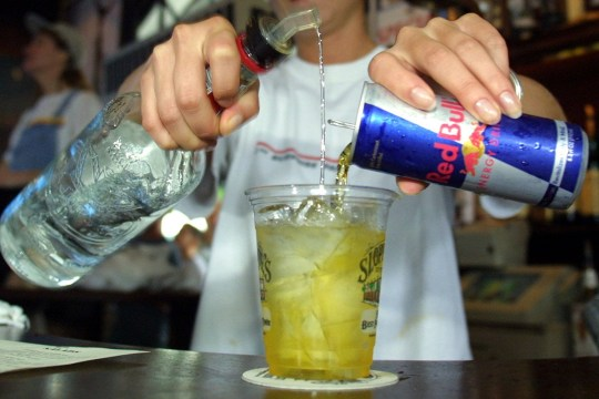 credit: Getty Images Sloppy Joe''s Bar Tender Crystal Petersen mixes a Red Bull energy drink with vodka July 22, 2001 in Key West, FL. The popular energy drink is now trendy at clubs as a mixer. (Photo by Joe Raedle/Getty Images)