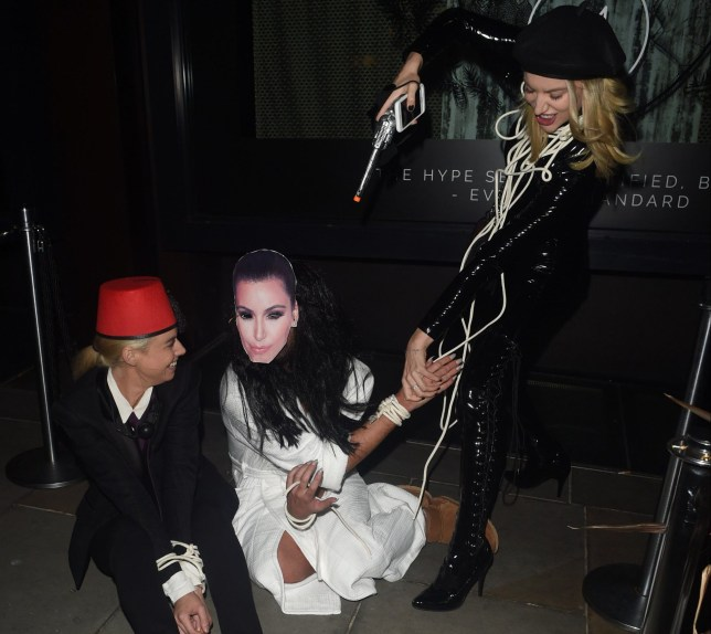 Halloween Goers at the Hallowzeen London party mock Kim Kardashians Paris Jewel Ordeal by dressing up and pretending to be held hostage outside M Restaurant. Featuring: Atmosphere Where: London, United Kingdom When: 29 Oct 2016 Credit: WENN.com