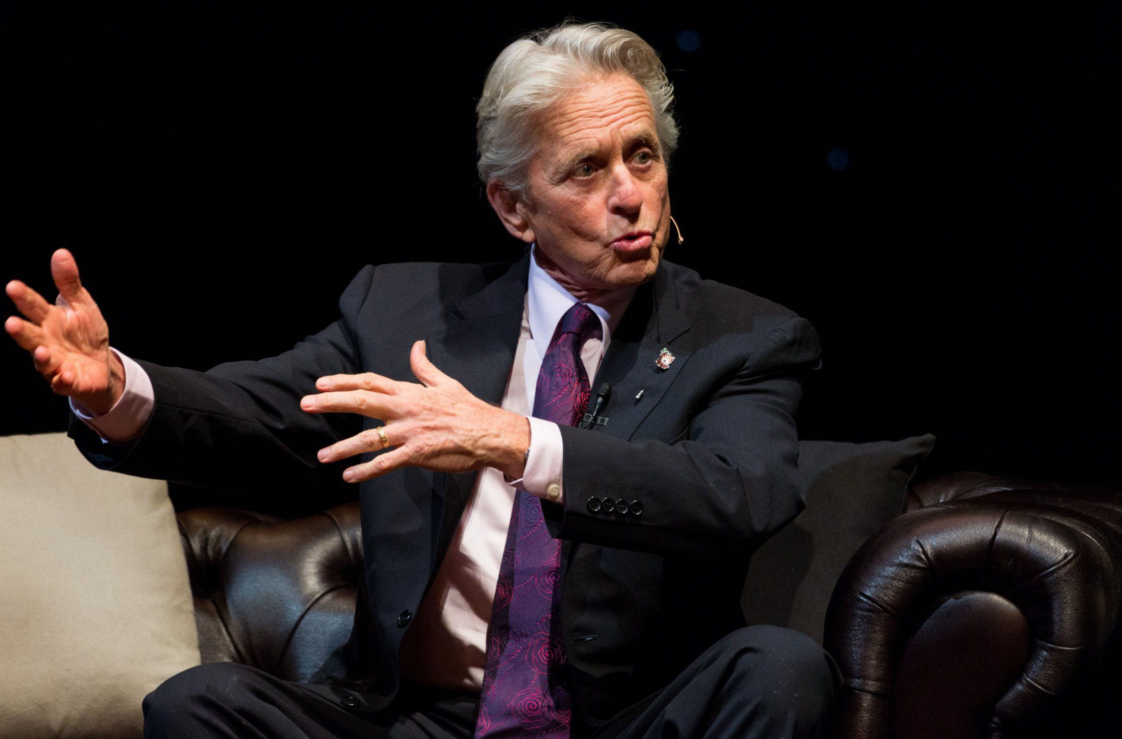 Mandatory Credit: Photo by Ray Tang/REX/Shutterstock (6898965i) Hollywood legend actor Michael Douglas in conversation with Jonathan Ross, as he reflects on his career and life 'An Evening with Michael Douglas', London, UK - 30 Oct 2016