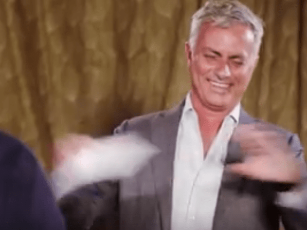 Manchester United boss Jose Mourinho breaks down with laughter in challenge with comedian John Bishop