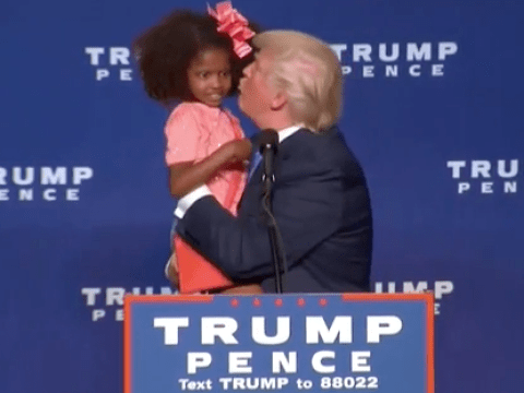 Donald Trump tried to kiss a girl at a rally and it was all kinds of awkward