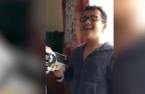 This boy pulled out his wobbly tooth… with a Nerf gun