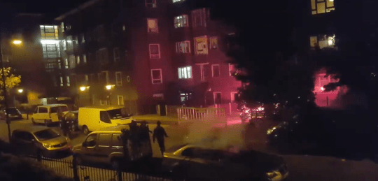 This footage from 2016 shows fireworks being shot at cyclists in Hackney (Picture: Twitter/Shomrim)