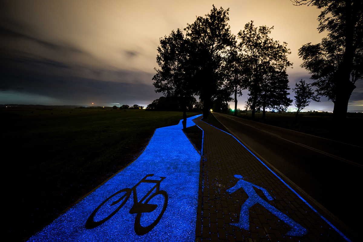 In Poland, they have glow-in-the-dark cycle paths and they're beautiful
