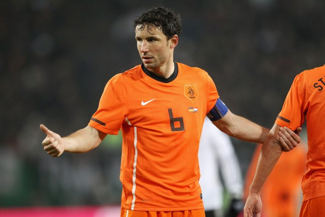 HAMBURG, GERMANY - NOVEMBER 15: Mark van Bommel of Netherlands gestures during the international friendly match between Germany and Netherlands at Imtech Arena on November 15, 2011 in Hamburg, Germany. (Photo by Boris Streubel/Getty Images)