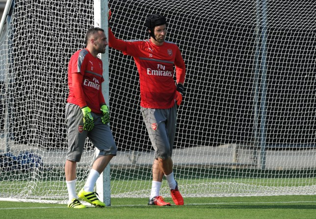 SAN JOSE, CA - JULY 26: (L-R) David Ospina and Petr Cech of Arsenal during a training session at San Jose State University on July 26, 2016 in San Jose, California. (Photo by Stuart MacFarlane/Arsenal FC via Getty Images)