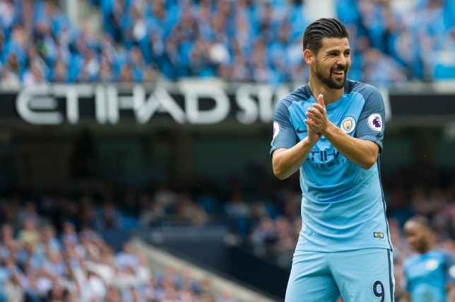 Manchester City's Spanish midfielder Nolito gestures during the English Premier League football match between Manchester City and West Ham United at the Etihad Stadium in Manchester, north west England, on August 28, 2016. / AFP / JON SUPER / RESTRICTED TO EDITORIAL USE. No use with unauthorized audio, video, data, fixture lists, club/league logos or 'live' services. Online in-match use limited to 75 images, no video emulation. No use in betting, games or single club/league/player publications. / (Photo credit should read JON SUPER/AFP/Getty Images)