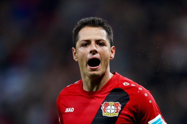 LEVERKUSEN, GERMANY - OCTOBER 01: Javier Hernandez of Bayer 04 Leverkusen celebrates scoring his teams second goal of the game during the Bundesliga match between Bayer 04 Leverkusen and Borussia Dortmund at BayArena on October 1, 2016 in Leverkusen, Germany. (Photo by Dean Mouhtaropoulos/Bongarts/Getty Images)