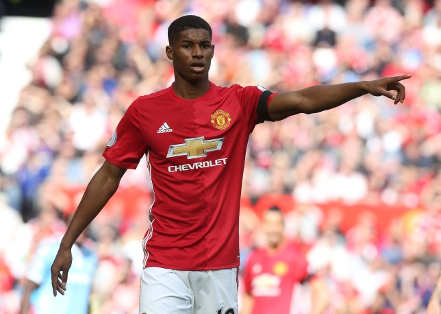 MANCHESTER, ENGLAND - OCTOBER 02: Marcus Rashford of Manchester United in action during the Premier League match between Manchester United and Stoke City at Old Trafford on October 2, 2016 in Manchester, England. (Photo by Matthew Peters/Man Utd via Getty Images)