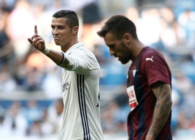 MADRID, SPAIN - OCTOBER 02: Cristiano Ronaldo (7) of Real Madrid gestures during the La Liga soccer match between Real Madrid CF vs Eibar at the Santiago Bernabeu Stadium in Madrid, Spain on October 02, 2016. (Photo by Burak Akbulut/Anadolu Agency/Getty Images)