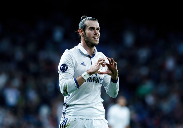 MADRID, SPAIN - OCTOBER 18: Gareth Bale of Real Madrid celebrates a goal during the Champions League 2016/17 match between Real Madrid and Legia Warszawa, at Santiago Bernabeu Stadium in Madrid on October 18, 2016. (Photo by Guillermo Martinez/Corbis via Getty Images)