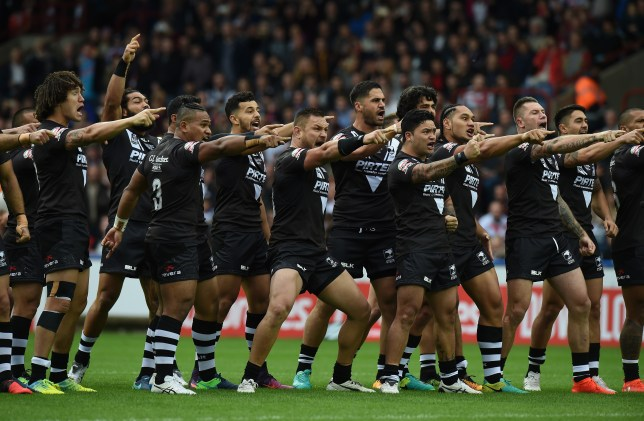HUDDERSFIELD, ENGLAND - OCTOBER 29: Players of New Zealand Kiwis perform the Haka before the Four Nations match between the England and New Zealand Kiwis at the John Smith's Stadium on October 29, 2016 in Huddersfield, United Kingdom. (Photo by Tony Marshall/Getty Images)