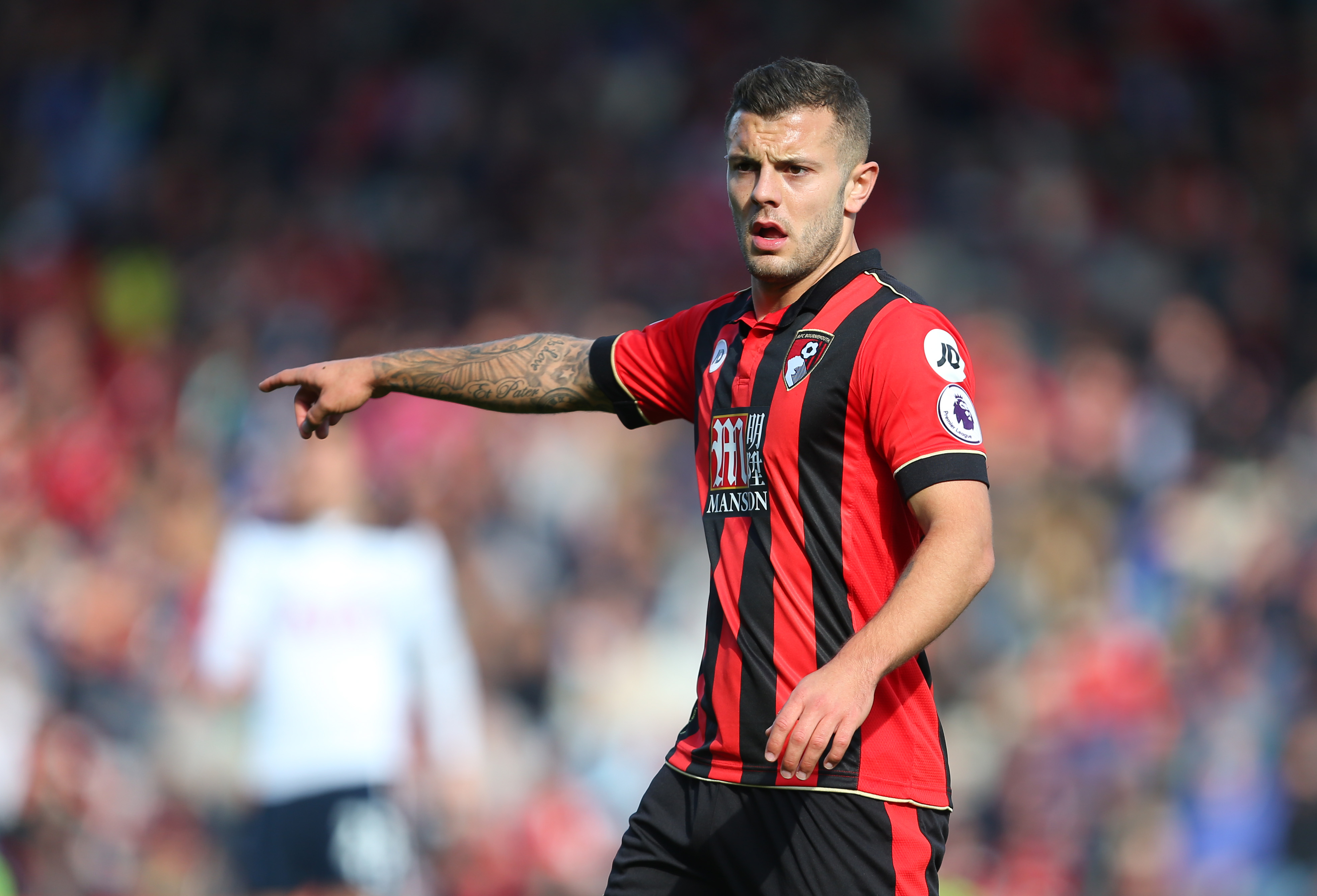 BOURNEMOUTH, ENGLAND - OCTOBER 22: Jack Wilshere of Bournemouth points during the Premier League match between AFC Bournemouth and Tottenham Hotspur at Vitality Stadium on October 22, 2016 in Bournemouth, England. (Photo by Catherine Ivill - AMA/Getty Images)