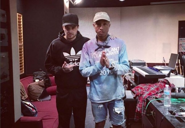 Liam Payne pictured in the studio with Pharrell Williams (Picture: Instagram)
