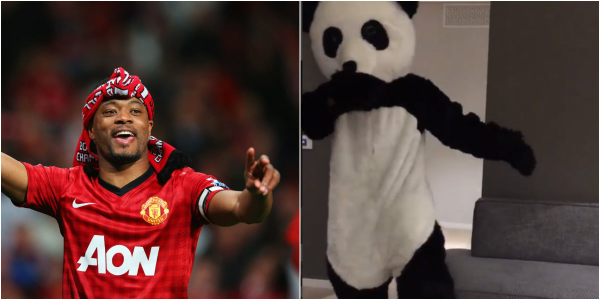 Former Manchester United defender Patrice Evra fights racism in a panda suit