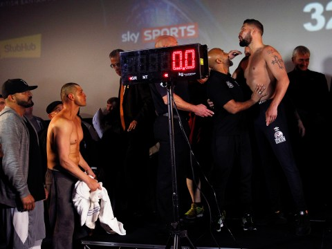 In pictures: Defending WBC champion Tony Bellew weighs in slightly heavier than challenger BJ Flores in Liverpool
