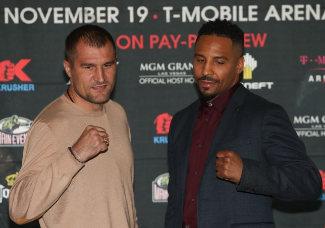 """NEW YORK, NEW YORK - SEPTEMBER 06: Sergey Kovalev (L) and Andre Ward (R) square up during the press conference for the Kovalev v Ward """"Pound for Pound"""" bout at Le Parker Meridien on September 6, 2016 in New York City. (Photo by Michael Reaves/Getty Images)"""