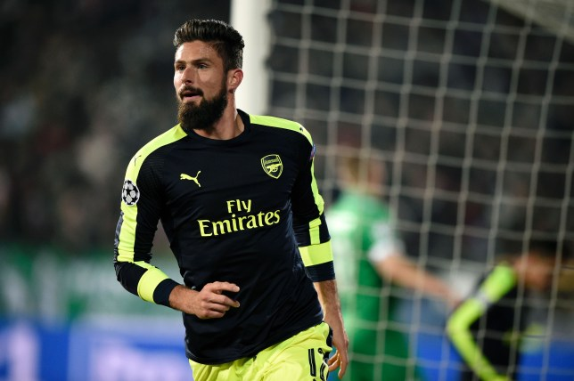 Arsenal's French forward Olivier Giroud celebrates after scoring a goal during the UEFA Champions League Group A football match between PFC Ludogorets and Arsenal, on November 1, 2016 at the Vassil Levski stadium in Sofia. / AFP / DIMITAR DILKOFF (Photo credit should read DIMITAR DILKOFF/AFP/Getty Images)