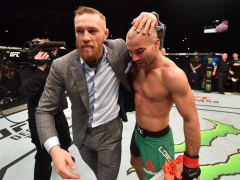 Watch: Conor McGregor bear hugs Artem Lobov and carries him around cage after UFC Belfast win