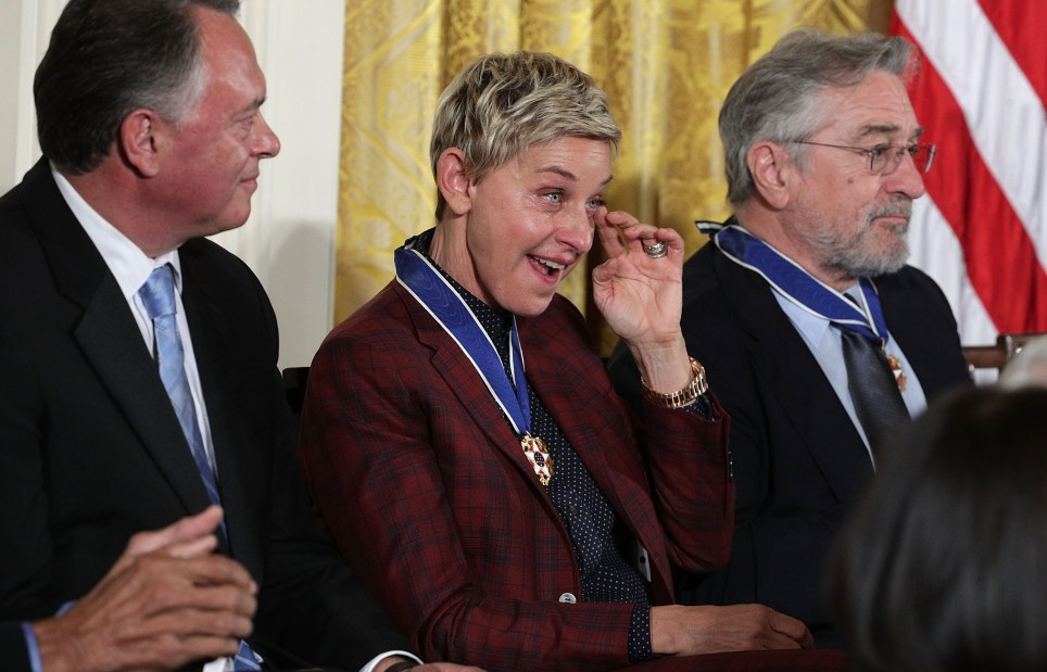 WASHINGTON, DC - NOVEMBER 22: Comedian and talk show host Ellen DeGeneres wipes tears during a Presidential Medal of Freedom presentation ceremony at the White House November 22, 2016 in Washington, DC. The Presidential Medal of Freedom is the highest honor for civilians in the United States of America. (Photo by Alex Wong/Getty Images)