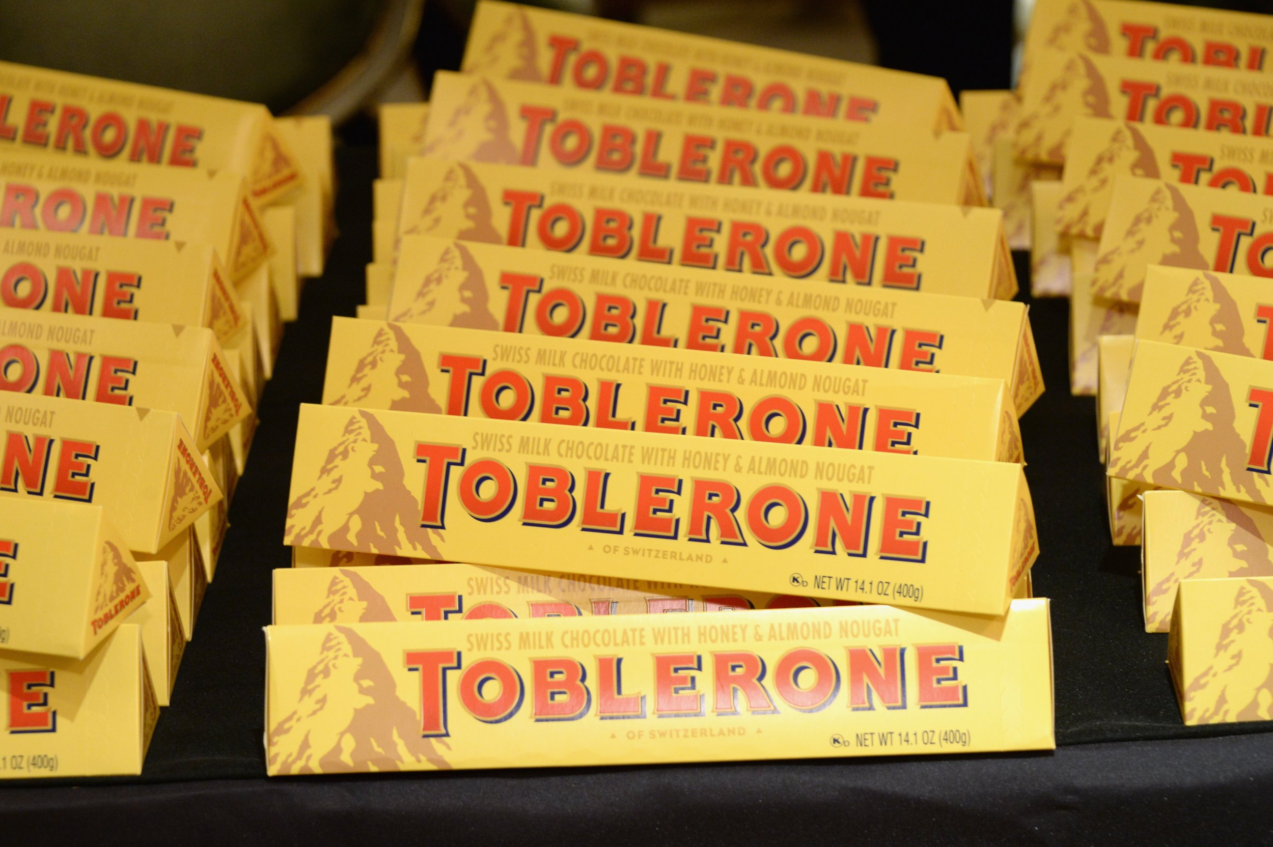 NEW YORK, NY - OCTOBER 17: Toblerone on display at A Tour De France hosted by Dominique Crenn and Michel Richard as a part of the Bank of America Dinner Series during the Food Network New York City Wine & Food Festival Presented By FOOD & WINE at Hotel Plaza Ahtenee on October 17, 2014 in New York City. (Photo by Ben Gabbe/Getty Images for NYCWFF)