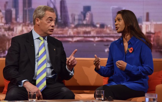 Nigel Farage, leader of the United Kingdom Independence Party (UKIP), and Gina Miller, an investment manager who is backing a legal attempt to challenge Britain leaving the EU without Parliamentary consent attend the Marr Show in London, November 6, 2016. REUTERS/Jeff Overs/BBC/Handout FOR EDITORIAL USE ONLY. NOT FOR SALE FOR MARKETING OR ADVERTISING CAMPAIGNS. NO ARCHIVES. NO SALES. THIS IMAGE HAS BEEN SUPPLIED BY A THIRD PARTY. IT IS DISTRIBUTED, EXACTLY AS RECEIVED BY REUTERS, AS A SERVICE TO CLIENTS.