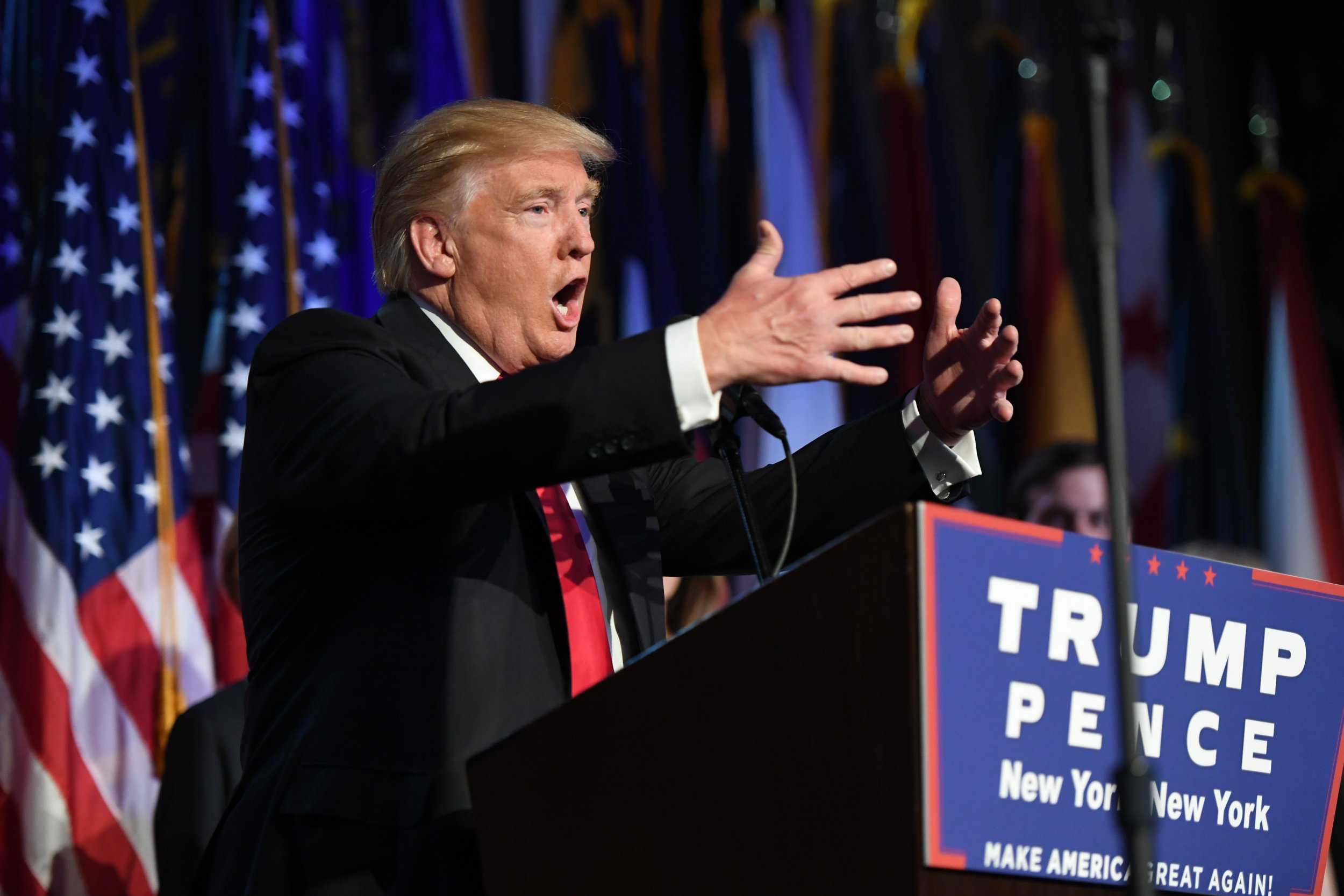 Trump statement on Muslims disppears NEW YORK, NY - NOVEMBER 9: President-elect Donald Trump addresses supporters at an election night event at the New York Hilton Midtown November 8, 2016 in New York City, New York.(Photo by Jabin Botsford /The Washington Post via Getty Images) (Photo by Jabin Botsford /The Washington Post via Getty Images)