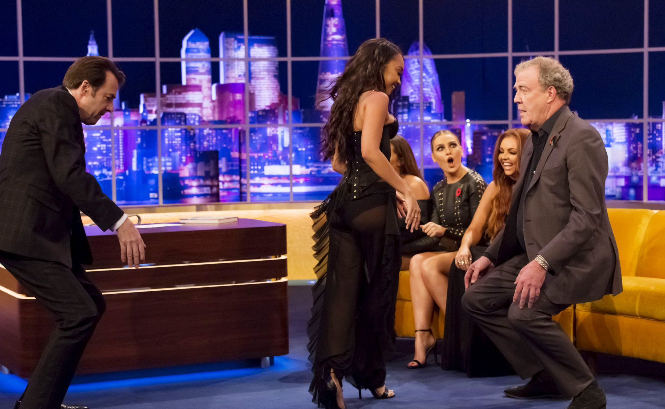 Mandatory Credit: Brian J Ritchie/Hotsauce Editorial Use Only. No merchandising STRICTLY EMBARGOED UNTIL 00.01 FRIDAY 11TH NOVEMBER 2016 PLEASE CREDIT: 'THE JONATHAN ROSS SHOW, SATURDAY 12TH NOVEMBER, 9.30PM ON ITV' Mandatory Credit: Photo by Brian J Ritchie/Hotsauce/REX/Shutterstock (7429400an) Jonathan Ross, Leigh-Anne Pinnock, Perrie Edwards, Jesy Nelson and Jeremy Clarkson 'The Jonathan Ross Show', London, UK - 12 Nov 2016