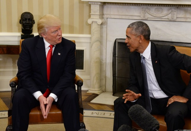 U.S. President Barack Obama meets with President-elect Donald Trump (L) in the Oval Office of the White House in Washington, DC on November 10, 2016. They talked for 90 minutes on a range of issues as the power transition starts. PHOTOGRAPH BY UPI / Barcroft Images London-T:+44 207 033 1031 E:hello@barcroftmedia.com - New York-T:+1 212 796 2458 E:hello@barcroftusa.com - New Delhi-T:+91 11 4053 2429 E:hello@barcroftindia.com www.barcroftimages.com