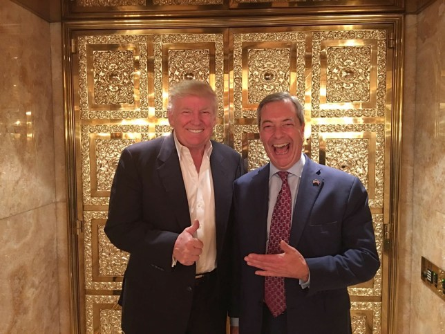 "Handout photo of Donald Trump and Nigel Farage as the outgoing Ukip chief's easy access to Donald Trump is provoking tension among Tories as he offers himself up as a deal broker between Downing Street and the next incumbent of the White House. PRESS ASSOCIATION Photo. Issue date: Monday November 14, 2016. After spending more than an hour with the president-elect, the interim Ukip's leader insisted Theresa May should stop running him down and instead use his closeness to the tycoon-turned-next US head of state to ""put the national interest first"". See PA story POLITICS President. Photo credit should read: Nigel Farage/PA Wire NOTE TO EDITORS: This handout photo may only be used in for editorial reporting purposes for the contemporaneous illustration of events, things or the people in the image or facts mentioned in the caption. Reuse of the picture may require further permission from the copyright holder."