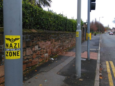 'Nazi controlled zone' stickers went up during Remembrance Day service