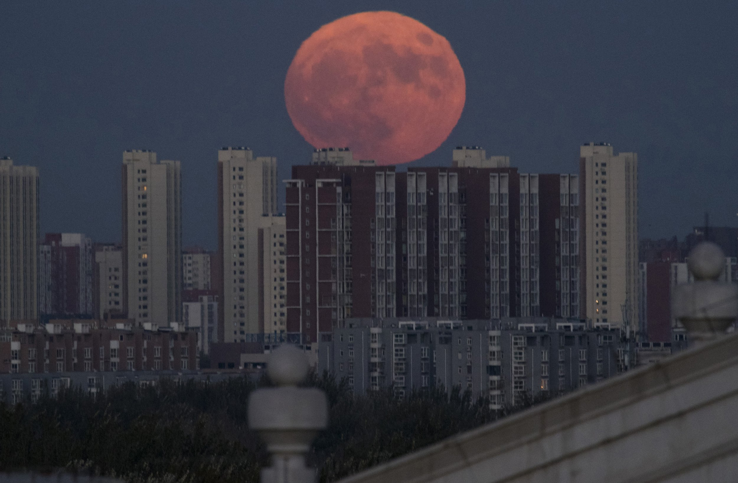 The moon rises from behind apartment buildings in Beijing, China, Monday, Nov. 14, 2016. The brightest moon in almost 69 years will be lighting up the sky this week in a treat for star watchers around the globe. (AP Photo/Ng Han Guan)